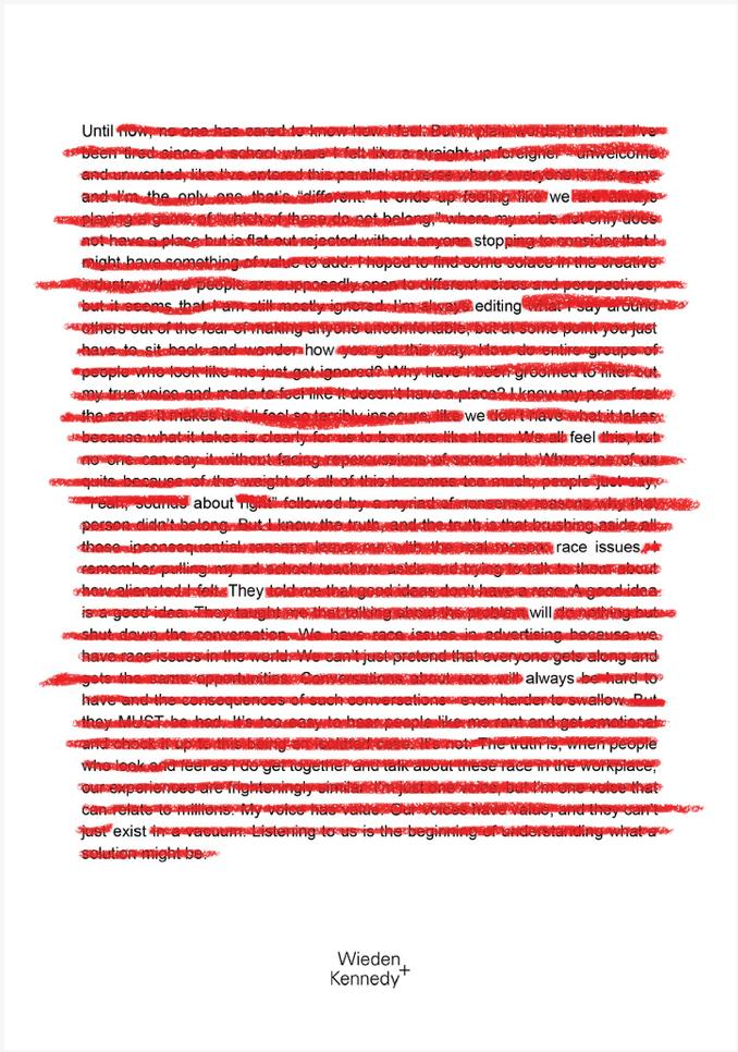 Wieden+Kennedy Red Line Ad
